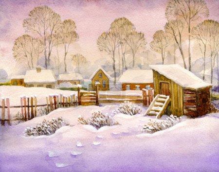 Paisaje de acuarela del antiguo pueblo de invierno