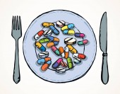 A plate full of pills Vector drawing
