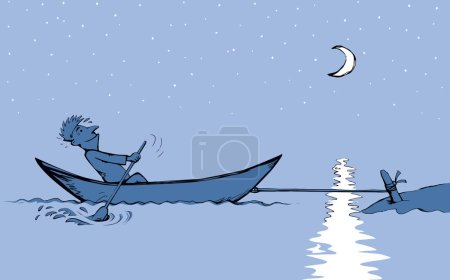 Illustration for Strength male figure struggle push oar kayak isolated on river background. Hand drawn incorrect goal infinite labour sea travel symbol sketch in art retro doodle comic style with space for text on sky - Royalty Free Image