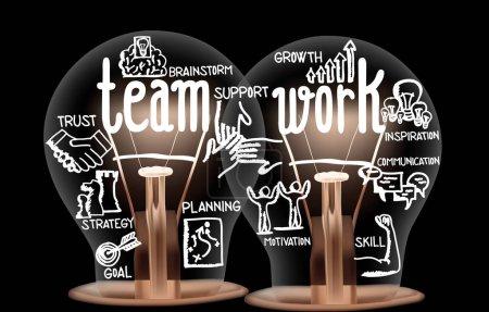 Photo pour Illustration vectorielle d'ampoules aux fibres brillantes sous forme de travail d'équipe, de soutien, de stratégie, d'objectif, de confiance et de motivation mots liés au concept isolés sur fond noir ; composition horizontale - image libre de droit
