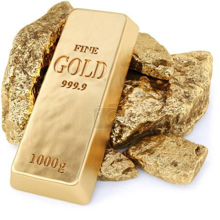 gold bullion and gold nuggets on a white background. 3d rendering.