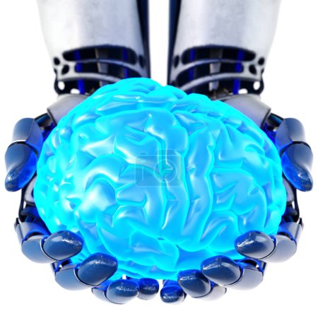 Photo for Robotic hand holding human brain. Isolated on white background. Artificial intelligence concept, bionic brain. 3d illustration. - Royalty Free Image