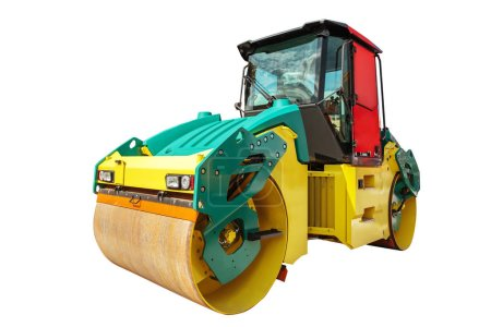 Photo for Road roller machine isolated with clipping path over white background. - Royalty Free Image