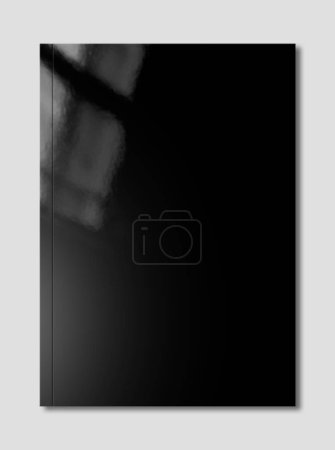 Photo for Black booklet cover isolated on grey background, mockup template - Royalty Free Image