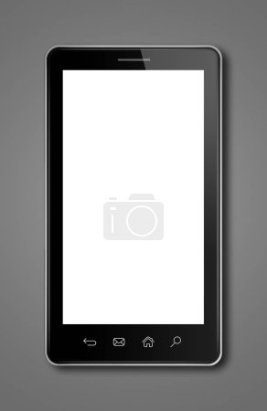 Photo pour Smartphone, modèle de maquette numérique tablet pc. Isolé sur fond gris foncé - image libre de droit