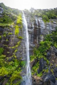 Waterfall in Milford Sound lake landscape, New Zealand