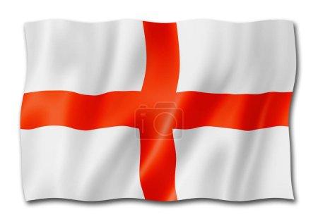 Photo pour Drapeau de l'Angleterre, trois rendu tridimensionnel, isolé sur blanc - image libre de droit