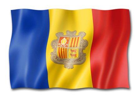 Photo pour Drapeau de l'Andorre, trois rendu tridimensionnel, isolé sur blanc - image libre de droit
