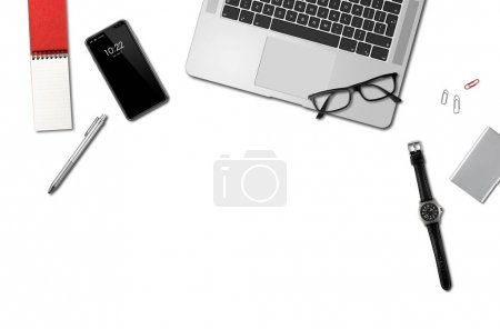 Photo for Modern office desk mockup top view isolated on white - Royalty Free Image