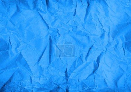 Photo pour Vieux fond de texture de papier froissé bleu. Papier peint - image libre de droit
