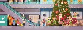 santa claus elves give present gift box mix race children group modern retail store interior decorated for christmas holiday new year concept flat horizontal