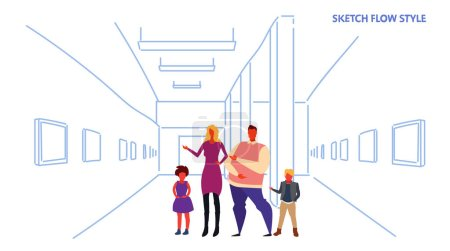 Family looking modern art gallery parents and chil...