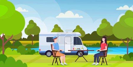 Illustration pour Couple assis à table près du camping famille remorque camion caravane voiture homme femme passer du temps ensembleson vacances d'été concept beautful nature paysage fond plat pleine longueur vecteur horizontal - image libre de droit