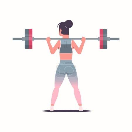 Illustration pour Sportive fille levage poids faire squats avec haltère attrayant femme entraînement séance d'entraînement mode de vie sain concept de fitness sportive en vêtements de sport plat vue arrière pleine longueur fond blanc vecteur - image libre de droit