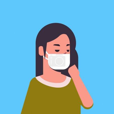 Illustration pour Femme portant un masque facial environnement industriel smog poussière toxique pollution de l'air et de la protection des virus concept femme dessin animé personnage portrait plat vecteur illustration - image libre de droit