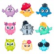 Set of cute colorful owls with different glasses a...