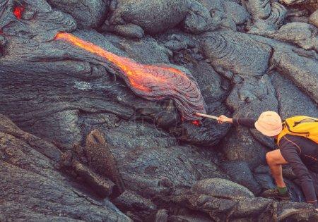man on Kilauea Active Volcano on Big Island, Hawaii