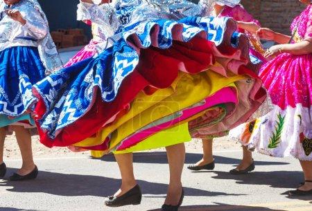 Authentic peruvian dance on city street