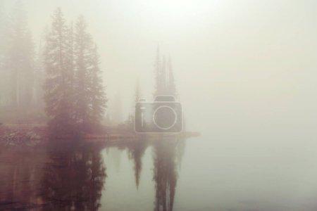 Photo pour Lac de montagne brumeux en début de matinée serein dans les montagnes. - image libre de droit