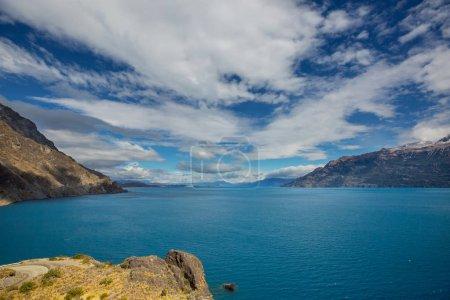 Photo pour Beau paysage montagneux le long de la route de gravier Carretera austral dans le sud de la Patagonie, Chili - image libre de droit