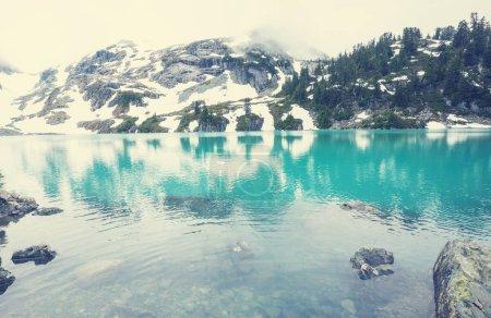 Photo pour Lac de sérénité dans les montagnes en saison estivale. Beaux paysages naturels. - image libre de droit
