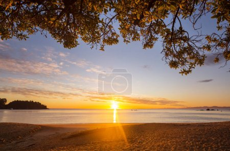 Photo for Scenic colorful sunset at the sea coast. Good for wallpaper or background image. Beautiful nature landscapes - Royalty Free Image