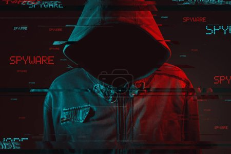 Photo for Spyware concept with faceless hooded male person, low key red and blue lit image and digital glitch effect - Royalty Free Image
