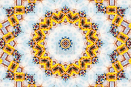 Blur abstract kaleidoscope pattern background, colorful reflective mirroring backdrop as graphic design element