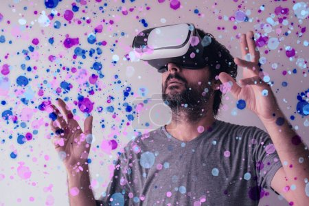 Photo for Virtual reality immersion, man wearing VR headset - Royalty Free Image