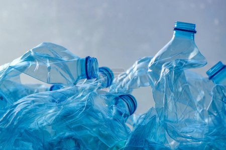 Photo for Crushed plastic bottles heap ready for recycling - Royalty Free Image