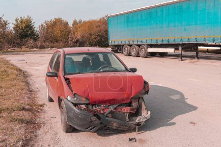 Photo for Crashed car on the road after traffic accident - Royalty Free Image