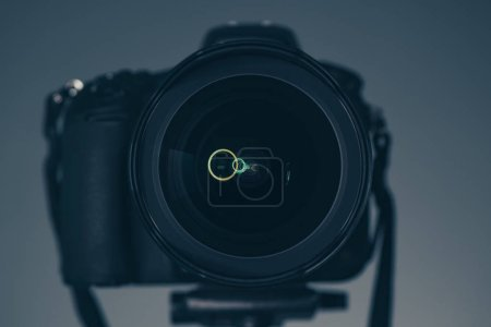 Photo for DSLR camera on tripod, photography and videography concept - Royalty Free Image