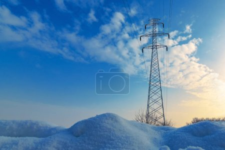 Photo for Frozen electricity pylon, power and energy industrial concept - Royalty Free Image