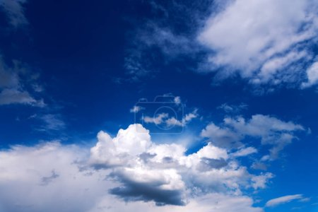 Photo for Wonderful sky with clouds as background. Amazing fluffy cloudscape on blue heaven backdrop. - Royalty Free Image