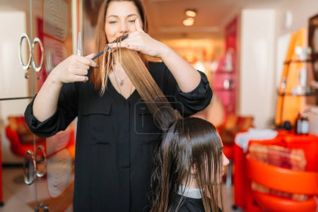 Female hairstylist runs the comb, woman in hairdressing salon. Hairstyle making in beauty studio