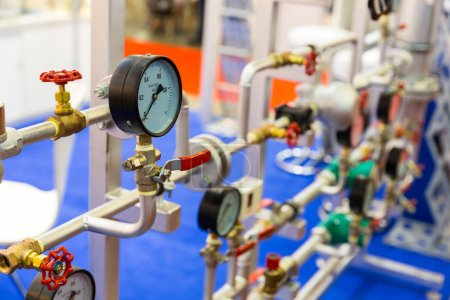 Gate valves, water pipeline, heat circuit. Thermal and pressure control station