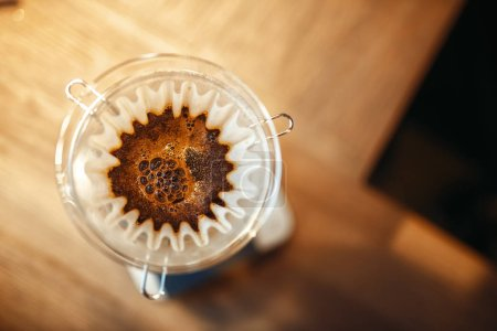 Photo for Glass coffee pot with membrane closeup, top view, nobody. Aroma espresso preparation, barista occupation - Royalty Free Image
