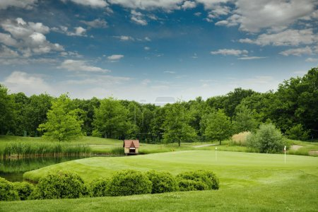 Trimmed field and lake for golfing on golf course, nobody. Meadow in sport club, playground with green grass, beautiful landscape for summer leisure