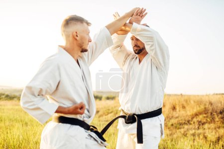 Two karate fighters with black belts on training fight in summer field. Martial art fighters on workout outdoor, technique practice