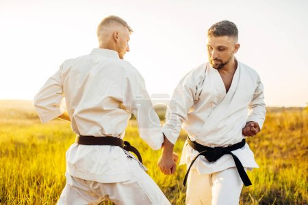 Two karate fighters with black