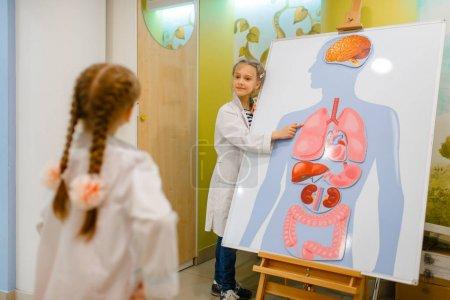 Photo pour Petites filles en uniforme jouant docteur à l'affiche avec des organes humains, salle de jeux. Enfants joue travailleur de la médecine dans l'hôpital imaginaire, l'apprentissage de la profession, rêve enfantin - image libre de droit