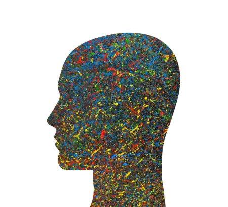 Photo pour Silhouette tête humaine avec éclaboussures d'aquarelle colorées - image libre de droit