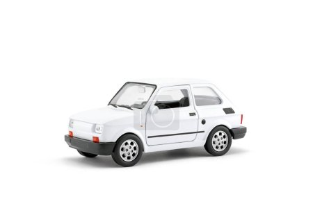 Photo for Small white retro toy car with clipping path on white background - Royalty Free Image