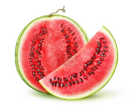 Photo for Half and slice of fresh watermelon isolated on white background with clipping path - Royalty Free Image