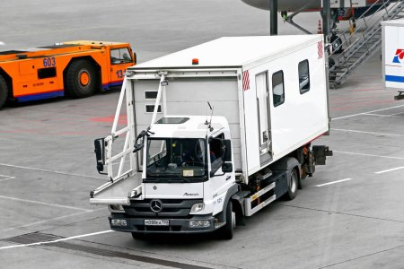 Moscow, Russia - May 4, 2018: Airline catering tuck Mercedes-Benz Atego 1016 in the Sheremetyevo International Airport.