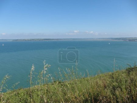 Photo for The bay of Saint-Brieuc seen from the Pointe du Roselier in Plerin - Royalty Free Image