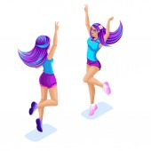 Isometry of a girl jumping having fun enjoying colorful and bright hair color galactic hair Ombre style bright hair coloring Glamour Fashion concept