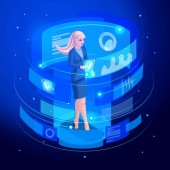 Isometric Business lady works virtual screen looks documents analyzes reports data using high technologies Artificial Intelligence Knowledge Expertise Intelligence Learn