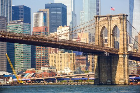 Photo for Brooklyn bridge and Manhattan skyline in New York - Royalty Free Image
