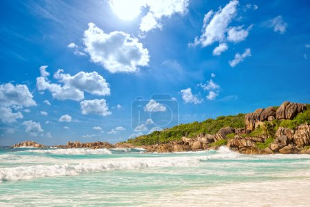 Waves at Grande Anse beach in La Digue Island, Sey...